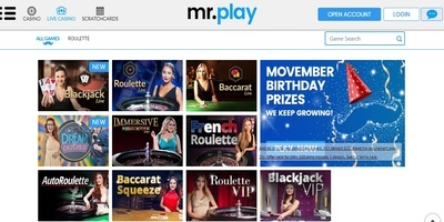 ▷ Mr. Play Online Casino Live Dealers