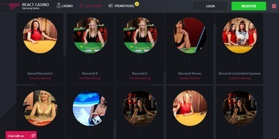▷ React Online Casino Live Dealers