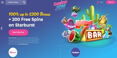 Casino Joy Review, 100% up to £200 First Deposit Bonus