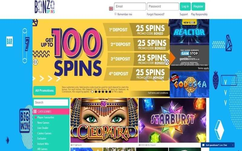 ▷ Play at Bonzo Spins Online Casino